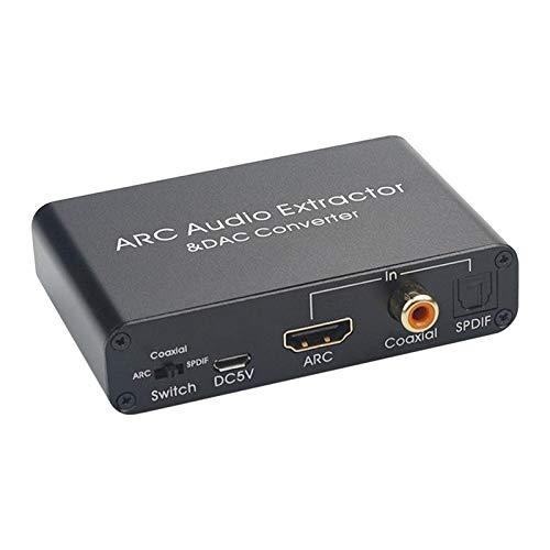 IPOTCH Convertidor DAC, Aluminio 192KHz Digital/Toslink a analógico L/R convertidor de Audio Adaptador para HDTV