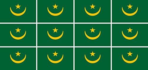 Mini Aufkleber Set - Pack glatt - 50x31mm - Sticker - Mauretanien - Flagge - Banner - Standarte fürs Auto, Büro, zu Hause & die Schule - 12 Stück