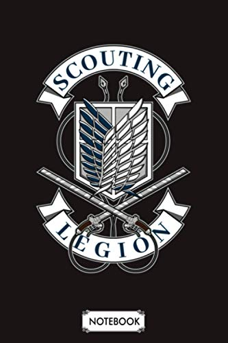 Scouting Legion Logo Attack On Titan Notebook: Diary, Lined College Ruled Paper, Planner, Journal, 6x9 120 Pages, Matte Finish Cover