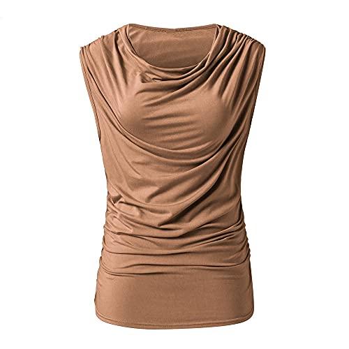 Tops Mujer Elegante Cómodo Cuello Redondo Verano Color Sólido Mujer T-Shirts Únicos Pliegues Sin Mangas Diseño Mujer Camiseta Casual Luz Respirable Mujer Blusa C-Khaki M