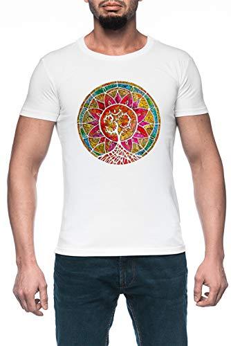 Árbol De Vida Mandala Hombre Blanco Camiseta Manga Corta Men's White T-Shirt