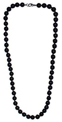 budawi® - schwarze Obsidian Kette Halskette Kugel 45 cm Karabinerverschluss, Obsidiankette