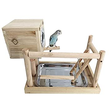 JOMSK Perroquets PlayStand Parrot Playground Stand Peau de Tigre couvoir Bureau de Formation Sticks Appliance Anklet (Color : Multi-Colored, Size : A)