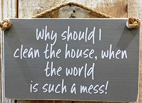 Plaque à suspendre « Unknow Why should I clean the house when the world is such mess »