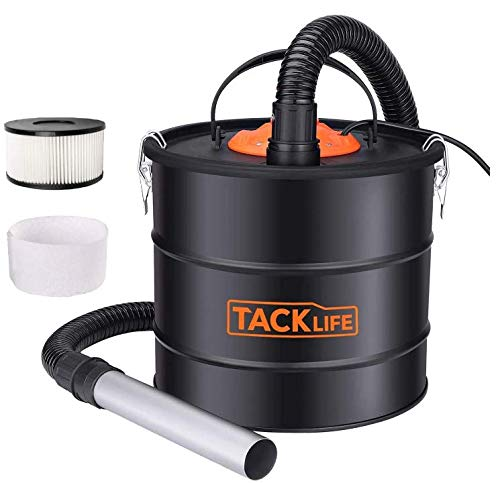 Ash Vacuum TACKLIFE 5 Gallon 800W Fireplace Vacuum with Blow function, 1.2M Metal Hose, 5M Power Cable, for use with Fireplaces, Wood Stoves, Ash Collectors, and Pellet Stoves