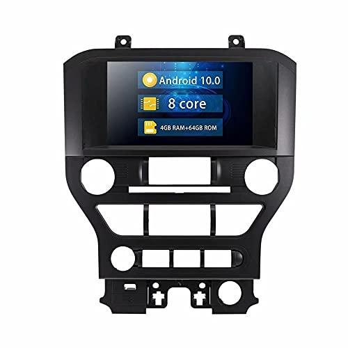 ROADYAKO Indash 8Inch 64GB Android 10.0 Car PC Radio estéreo Reproductor de navegación GPS para Ford Mustang 2015 2015 2017 2018 2019 Versión Baja Auto Multimedia Video SWC 4G WiFi RDS FM Am
