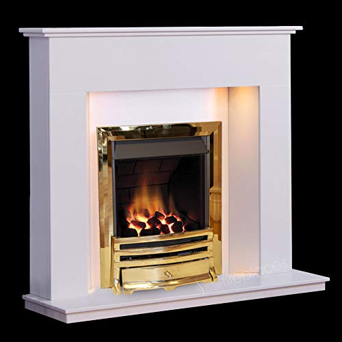 White Modern Marble Stone Fire Surround Wall Gas Fireplace Suite Brass Inset Gas Fire with Spotlights