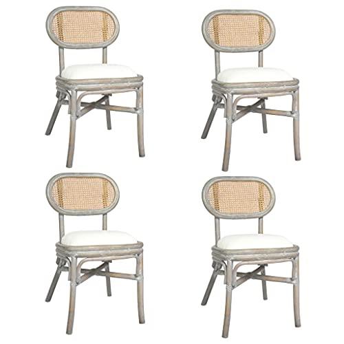 vidaXL 4X Sillas de Comedor Salón Sala de Estar Cocina Jardín Terraza Exterior Balcón Patio Sillón Asiento Butaca Muebles Mobiliario Lino Gris