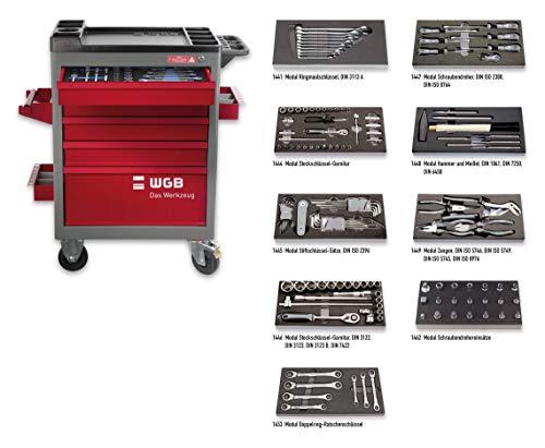 Werkstattwagen bestückt mit 9 Modulen   5 Schubladen   No.140   stabile Stahlblechkonstruktion   WGB