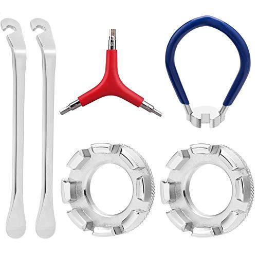 Yomiin Fahrrad Speichenschlüssel aus Stahl, Größe 10-15 Universal Speichenspanner für Fahrrad, Leichtes Elektrofahrzeug, Nippelspanner Speichen Werkzeug,Trident Hexagon Hex Wrench