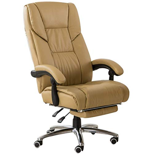 FTFTO Office Life Office Chair, Ergonomic High Back Racing Gaming Swivel Lounge Chair Adjustable Height with Foot Stool Computer Desk Chair (Color : Cream Color)