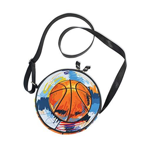 Ahomy Umhängetasche, Aquarell-Basketball-Tasche, trendig, für Kinder, Mädchen, runde Handtasche
