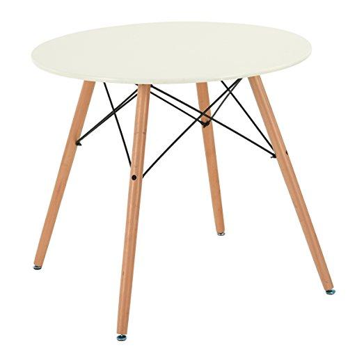 Furniturer Cucina Tavolo da Pranzo Moderno Ufficio Tavolo da conferenza, Legno, Cream, Rotondo