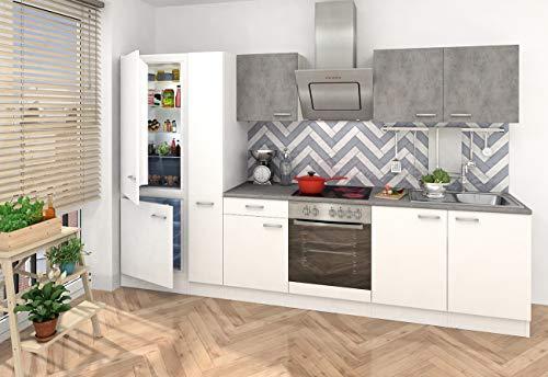 respekta inbouw keuken kitchenette keukenblok 300 corpus wit, fronten gedeeltelijk in betonlook Ceran Soft Close, koel-/vriescombinatie 178 cm