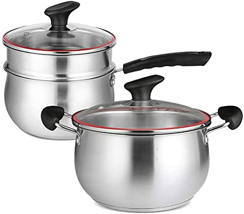 WQF 2-Piece cookware Set, Stainless Steel Soup pots, Mini Steamer, with Tempered Glass lid, Sturdy Handle, Suitable for All Gas Induction cookers, Easy to Clean Cookware