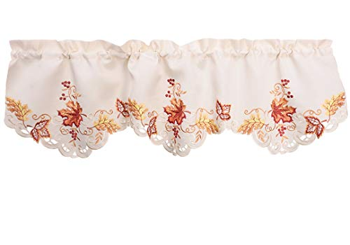 Grelucgo Elegant Thanksgiving Holiday Embroidered Maple Leaves Window Curtains Valance Fall Autumn Decorations 59 X 18 Inch