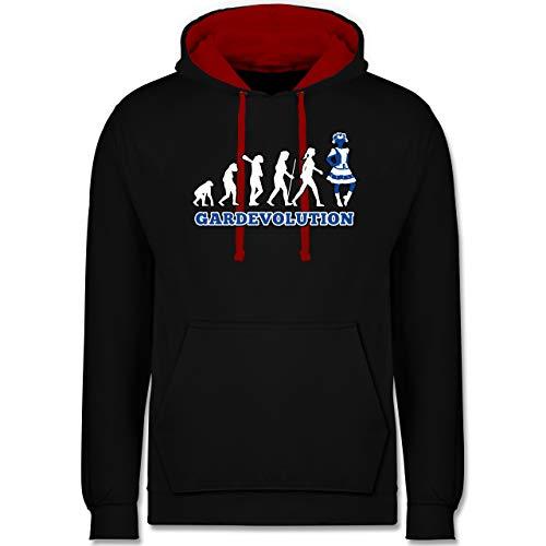 Shirtracer Karneval & Fasching - Gardevolution Garde Evolution Weiß Blau - S - Schwarz/Rot - s-Gard - JH003 - Hoodie zweifarbig und Kapuzenpullover für Herren und Damen