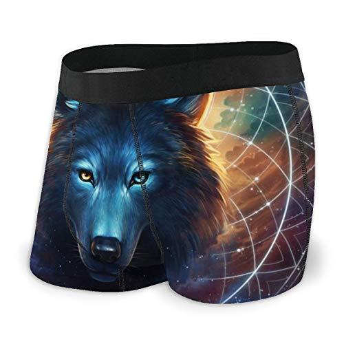 LAOLUCKY Traumfänger, Wolf Mond, Herren Boxershorts, weich, atmungsaktiv, Stretch, Unterwäsche Gr. L, Schwarz