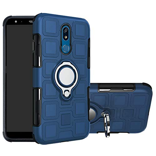 LFDZ LG K40 Hülle, 360 Rotation Verstellbarer Ring Grip Stand,Ultra Slim Fit TPU Schutzhülle für LG K40 / K12 / K12 Plus Smartphone,Deep Blue