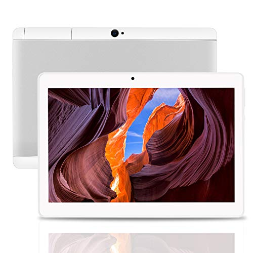 Android Tablet 10 Inch Android 8.1 OS, 3G Unlocked Tablet with Dual SIM Card Slots, FHD IPS Screen, 4GB RAM, 64GB ROM, Quad Core,Youtube Netflix, Bluetooth, GPS (white)