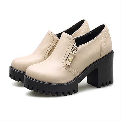 ACWTCHY Vrouwen Schoenen Platform Ronde Teen Britse Stijl Vrouwelijke Enkele Schoenen Vierkante Hakken Vrouwen Pompen