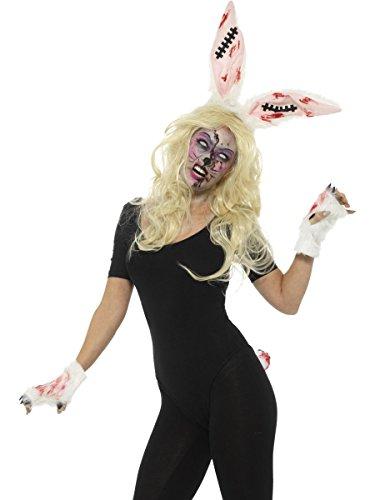 Smiffys Damen Kostüm Zubehör Zombie Hase Ohren Pfoten Schwanz Halloween