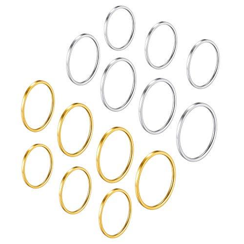 GoldChic sieraden 7-28 stuks 1 mm dames stapelen midi-ringen, roestvrijstalen knokkel effen bandring set, comfortabele pasvorm maat 4-10, zilver/rose/goud/zwart toon