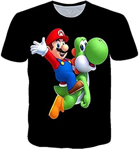 HSBZLH Camiseta Plateada Juego Super Mario 3D Camisetas Casual Y Divertido Streetwear Harajuku O-Cuello Camisetas Gran Tamaño Camisetas