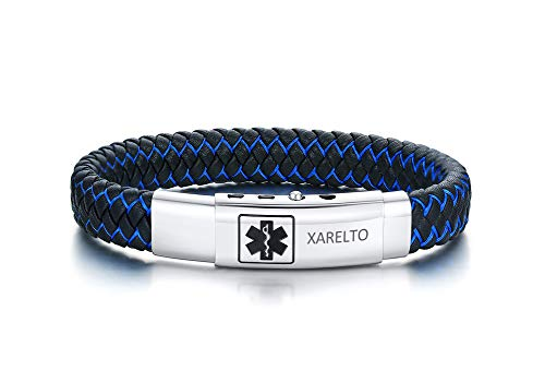 XARELTO Bracelet Engraved Handmade Braided Bangle Adjustable Leather Emergency Medical Alert ID Bracelets for Men,210-230MM