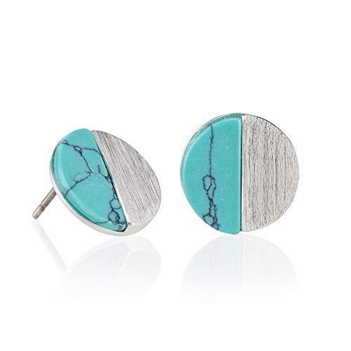 Namana Disc Stud Earrings. Brushed Finish Geometric Earrings with Created Blue Turquoise or White Agate. 14ct Gold Plated or Silver Coloured Stud Earrings for Women