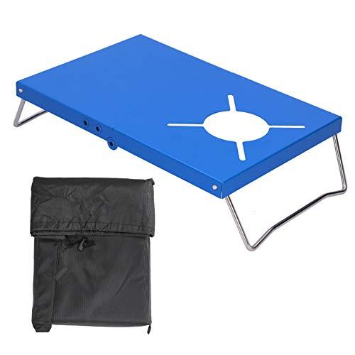 Wosune Mesa de Estufa de Acero Inoxidable, Mesa de Estufa de Camping Acero Inoxidable para Acampar al Aire Libre para picnics para Senderismo para Viajes(Blue)
