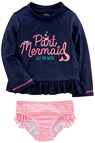 Simple Joys by Carter's Baby Girls' Toddler 2-Piece Rashguard Set, Navy/Pink, 5T