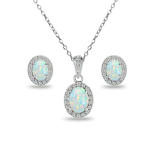 GemStar USA Sterling Silver Synthetic White Opal and White Topaz Oval Halo Necklace and Stud Earrings Set