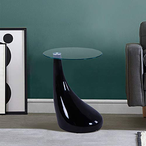 GOLDFAN Tavolino da Salotto Tavolino in Vetro Lucido con Base Laccata Tavolino da tè Design Scandinavo, Rotondo, Nero, 42x55cm …