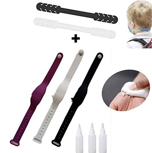 Braccialetto con dispenser multifunzionale, braccialetto disinfettante per mani, supporto portatile da viaggio, in silicone liquido per lavaggio delle mani, supporto portatile da viaggio