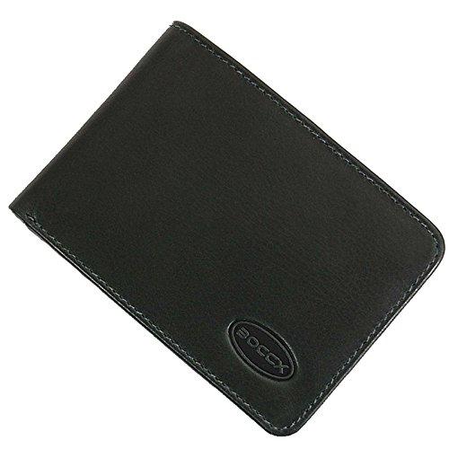 BOCCX Mini Geldbörse Portemonnaie Echtleder Designer Kleiner Geldbeutel Portmonee aus echtem Leder Herrenbörse im Querformat 10020 GoBago (Grün)