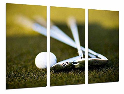 Cuadro Fotográfico Deporte Golf, Palos y Pelota sobre Cesped Tamaño total: 97 x 62 cm XXL