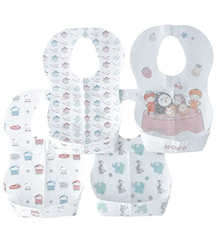 Anonimo Babero desechable con 4 diseños de 20 unidades, Baberos desechables para bebés recién nacidos, Babero para niño, Baberos ajustables, Baberos desechables de viaje