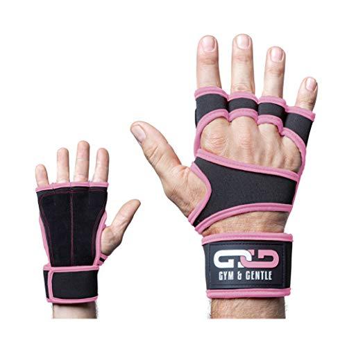 Gym & Gentle Guantes de fitness para hombre y mujer, guantes de entrenamiento, muñequera, entrenamiento de fuerza, culturismo, crossfit, color rosa, XL