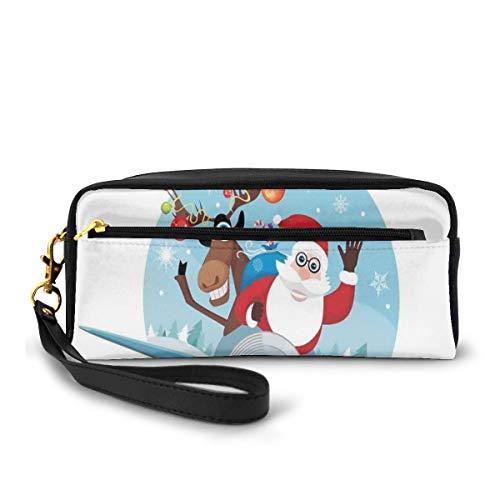Pencil Case Pen Bag Pouch Stationary,Reindeer and Santa Delivering Gifts on A Vintage Plane Winter Noel Illustration,Small Makeup Bag Coin Purse