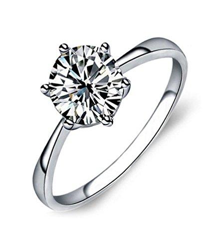 Ijewellery San Valentino classico solitario con diamante Promessa Anelli di fidanzamento di nozze per le donne