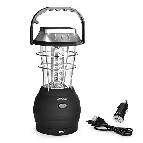 AGPtek Hand Crank Dynamo Solar Super Bright Rechargeable 36 LED Lantern Outdoor Camping Emergency Light -- 2 Light modes & 5 Charging Modes with Universal USB Charging Port