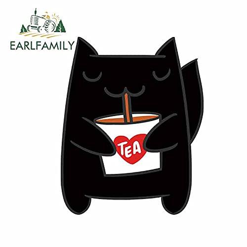 A/X 13 cm 10,4 cm para Gato Lindo sosteniendo una Taza de té con Leche calcomanía para Coche Pegatinas para Ventana de Parachoques rasguño de oclusión 3D