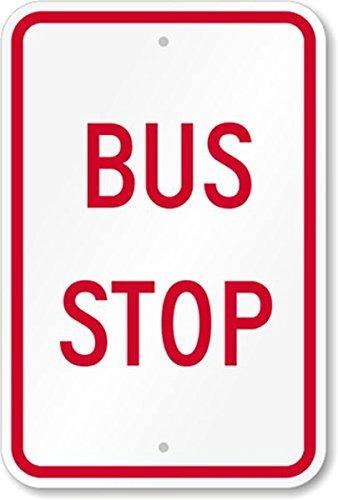 Fhdnagfds Reflektierendes Schild, Legende Bushaltestelle, Engineer-Grade, 45,7cm hoch x 30,5cm breit, rot auf weiß