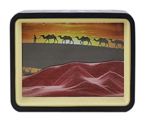 Jszzz Fallen Sand Malerei Wüste Kamel Hintergrund, Fließen, Sand-Panel Tabletop handgemachte Fertigkeit mit 2 farbigen Rahmen Cu