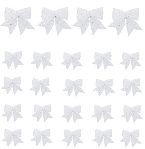 zorpia Christmas Bow Decorations, White Wreaths Bows, Small Christmas Tree Bow, 5.5 in Sequin Bow Ties, Xmas Decorative Bows Ornaments for Home Christmas Party,Set of 24 (White)
