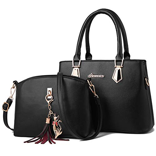 Rullar 2Pcs Women Top-Handle Bag Set PU Leather Tassel Ornaments Satchels Tote Shoulder Crossbody Bag Handbag Purse Black