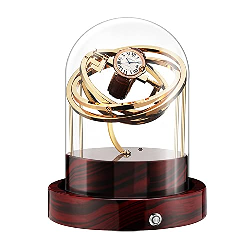 GUOYUN Caja De Winder De Reloj Automática para Relojes Mecánicos Moda Rotador Único Rotador Caja De Lujo Caso Transparente Reloj Rinder (Color : Wood Grain Golden)