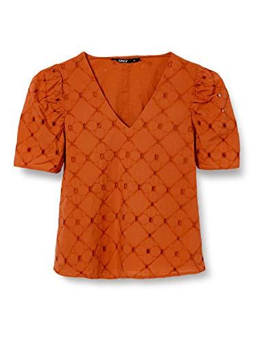 ONLY Damen ONLLINDSAY 2/4 TOP WVN Bluse, Hot Sauce, 42