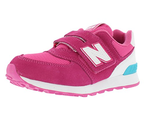 New Balance Unisex-Kinder 574 Hook and Loop High Visibility Sneakers, Pink (KV574CZY M), 39 EU